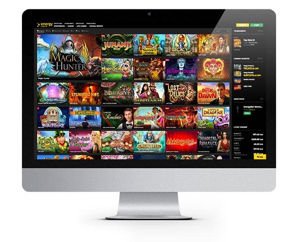 Energy Casino desktop lobby