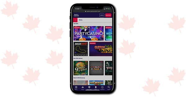 Party Casino mobile lobby