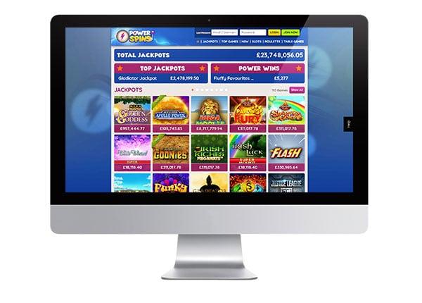 Power Spins Casino desktop lobby