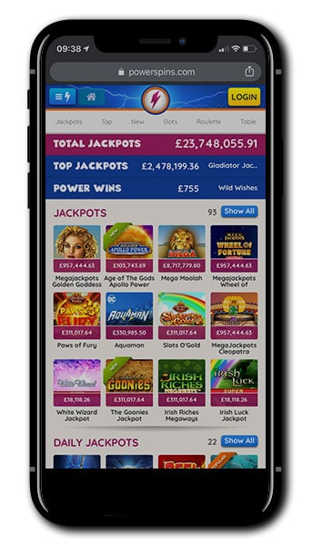 Power Spins Casino Mobile lobby