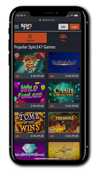 Spin247 Casino mobile screenshot