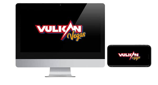 Vulkan Vegas Casino logos on screen